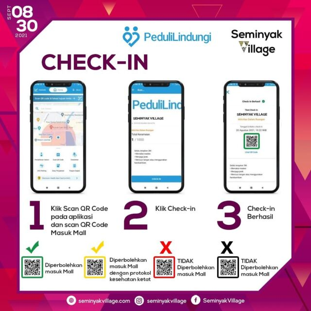 #frequentlyaskedquestions   Here's the procedure for you to enter Seminyak Village.   Make sure to always bring your Peduli Lindungi App to have an easy access to our mall.   See you at Seminyak Village 🥰
